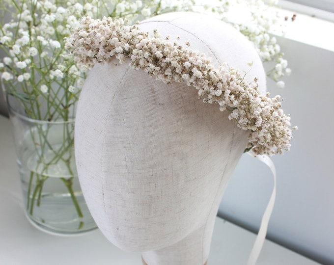 Dry Babies Breath Flower Crown / Dried Babys Breath Floral Halo / Photo props Rustic Crown / Greenery wedding crown / Best Seller
