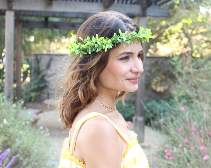 Flower Crown / Boho Leaf all around crown / Wedding Floral Crown / Green Hair Wreath / Bridesmaids, Flower girl greenery, Prom