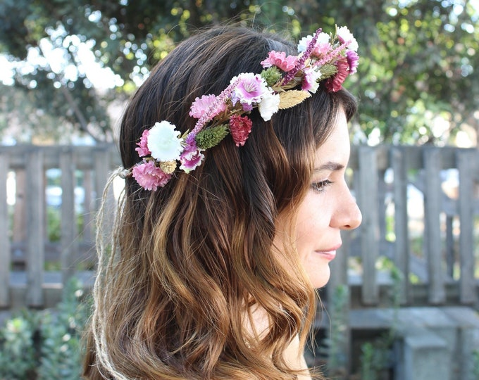 Dried Flowers Crown /Lilac, pink, purple and ivory Floral Crown / Wedding Bridal Rustic Crown /Bohemian Greenery Headband /Fall Autumn Crown