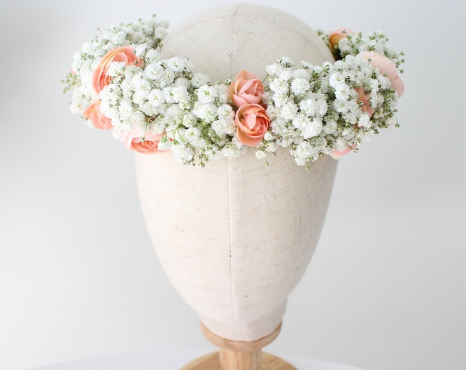 Babies Breath Flower Crown Made with Real Baby's Breath and silk flowers / Dried Babies Breath Floral Halo / Natural peachy crown