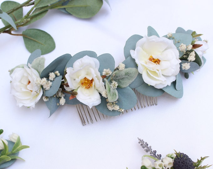 Ivory Flower Comb / Dainty Wedding Floral Comb / Rose Bridal Hair Accessory / Dried Babies Breath Comb / Lambs ear Something blue comb