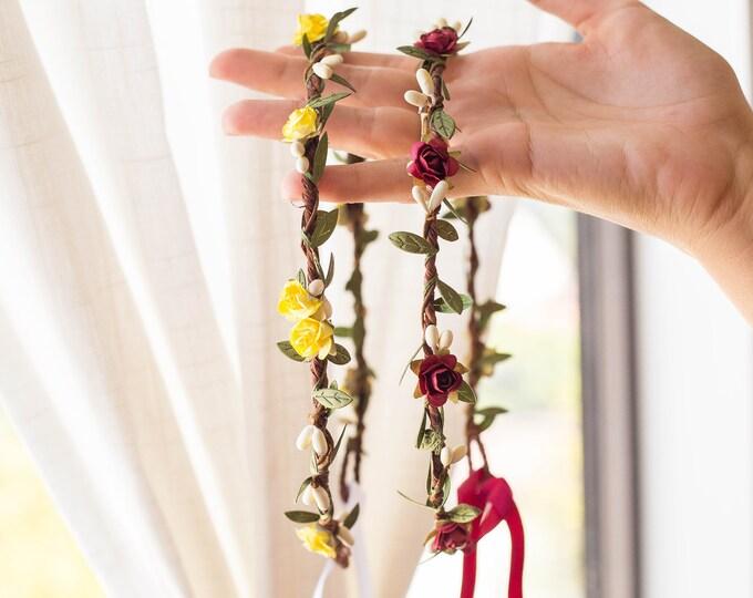 Flower Girl Crown / Burgundy Yellow Green Leaf Hair Vine / White berries Rose crown / Bohemian Tieback Floral Headband / Customizable color