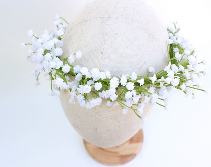 Baby Breath Flower Crown Made with Artificial Baby's Breath / White Babies Breath Faux Floral Halo / Greenery Rustic Crown / Best Seller