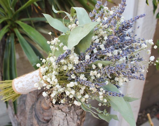 Lavender Bouquet Wedding / Babies breath bouquet with eucalyptus leaves / Dried lavender bundles Bridesmaid bouquet /Eucalyptus leaf bouquet
