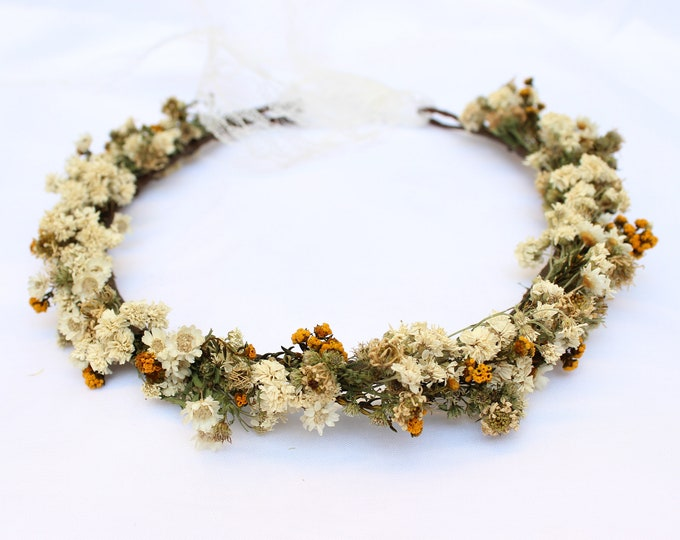 Wildflowers Crown, Bohemian Thin Floral Crown, Dried Flowers Vintage Halo Circlet, Orange Rustic Crown, Mid century boho look