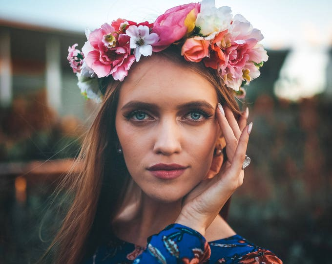 Bohemian Flower Crown / Bridal Headpiece / Wedding Floral Crown / Authentic Boho Bride Greenery / Brides Wedding Wreath /  Tropical crown