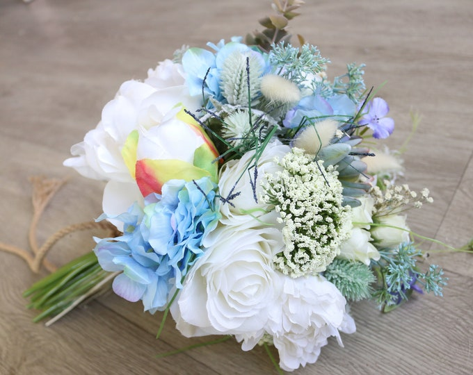 Succulent Wedding Bouquet / Something Blue Bridal Plants Bouquet / Wedding Soft colors Succulent and Peonies Dried Flowers Bouquet