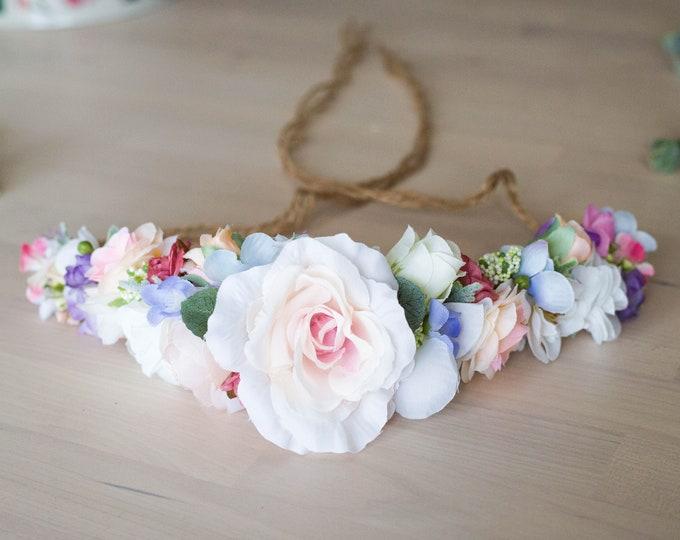 Tieback Flower Crown Headband / Pastel Floral Hair Wreath / Ivory Halo Floral Crown / Soft Color Bohemian Hair Garland / Boho Headpiece