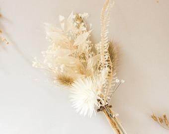 Woodland Boutonniere bunny tails pastel color boutonniere Neutral tones Groom/'s boutonniere golden flex