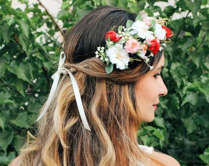 Bridal Flower Crown / Garden Rose Flower Crown / Greenery Floral Crown / Blush Burgundy red Brides Crown / Wedding Hair Accessories