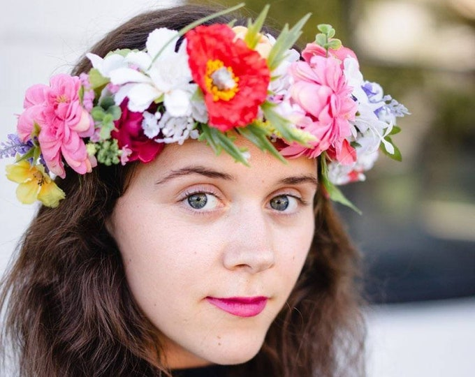 Colorful Tropical Flower Crown / Rainbow Hawaiian Flowers Hairpiece / Greenery Exotic Flowers / Colorful Flower girl / Bridal shower crown