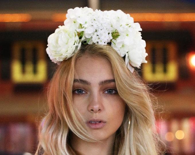 Halloween headband / Coachella Festival Crown / Babies Breath Headband / Baby shower Floral Halo / English Rose Wedding Bold Headpiece