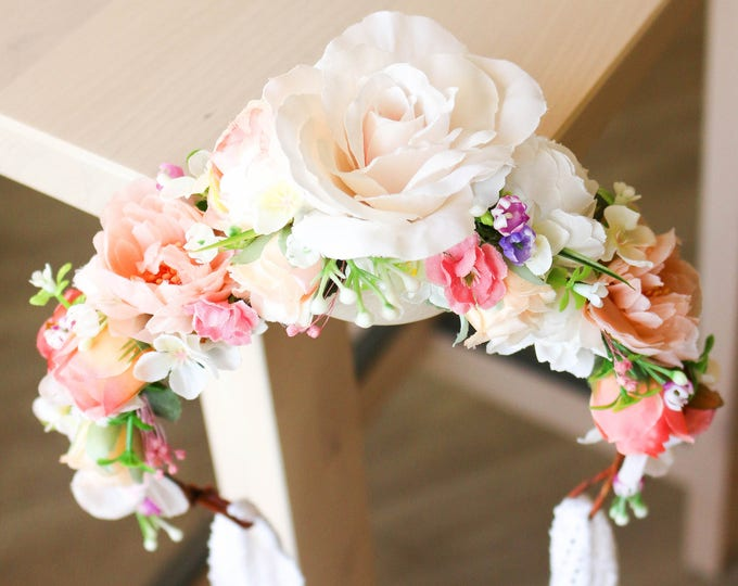 Blush and Ivory Flower Crown / Rose Gold Floral Halo / Dreamy Half Pastel Floral Crown / Wedding Headpiece / Photo props Spring Hair