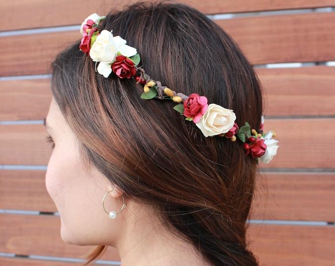 Flower Girl Crown / Burgundy Ivory Floral Crown / Greenery Red Hair Vine / Burgundy berries Rose crown / Bohemian Tieback Floral Headband