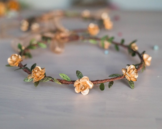 Flower Girl Rose Gold Crown / Baby Shower Bridal Shower Gift / Metallic Crown / English Rose Hair Crown / Bohemian Tie Back Floral Headpiece