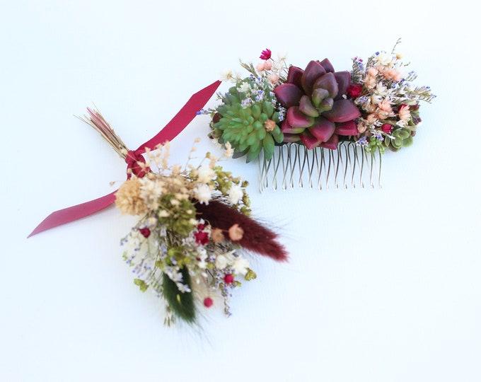 Succulent Hair Comb / Red Wine Wedding Flowers / Dried Flowers Boutonniere / Babies Breath Men's Apparel/ Burgundy Succulent set