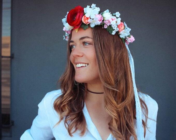 Ranunculus Flower Crown / Wedding Floral Crown / Babies Breath Greenery Flowers / Bohemian Engagement Hair Wreath / Tieback with lace