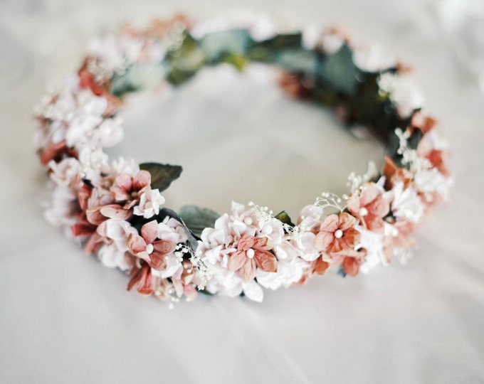 Wedding Crown / Bohemian Floral Headpiece / Authentic Flower Crown / Blush Ivory Hair Garland / Destination Wedding Engagement