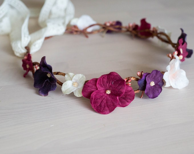 Burgundy Flower Crown / Maroon Silk Floral headpiece / Floral Crown purple / Flower Girl crown tieback with lace