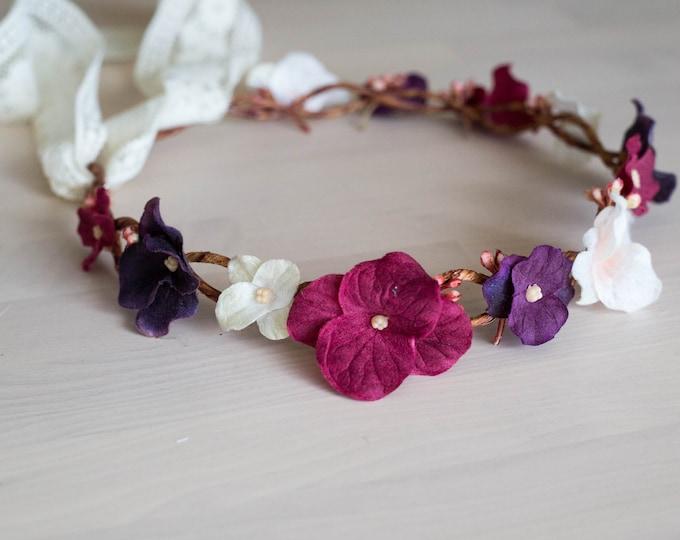 Sample SALE/ Burgundy Flower Crown / Maroon Silk Floral headpiece / Floral Crown purple / Flower Girl crown tieback with lace