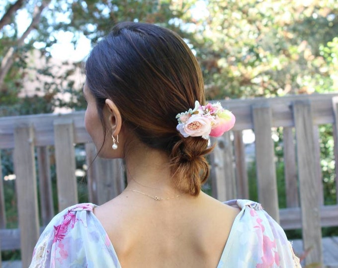 Bridal Hair Accessories / Blush Bridal Headpiece / Ivory Floral Comb / Dried Flower Comb / Pastel Hair Accessory / Bridesmaid Rosemary comb