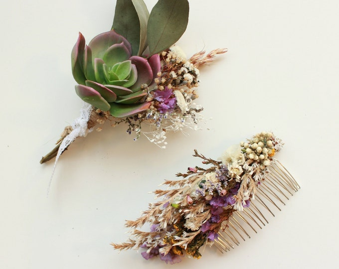 Dry Flowers Hair Comb / Dainty Wedding Floral Comb / Bridal Hair Accessory / Dried Flowers Hair pin clip / Gift for her / Mother in law gift