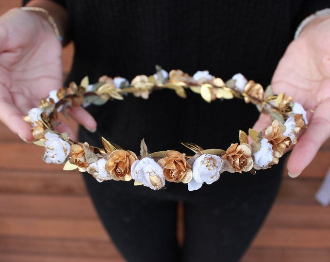 Gold Flower Crown / Ivory Floral Crown / Gold Leaf Hair Vine / All around Rose crown / Bohemian Tieback Floral Headband / Toddler Crown