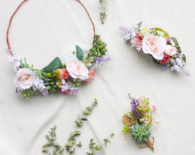 Succulent Flower Crown / Green and Blush Headpiece / Floral Crown Wedding / Bohemian Retro Crown / Flower Hair Accessory