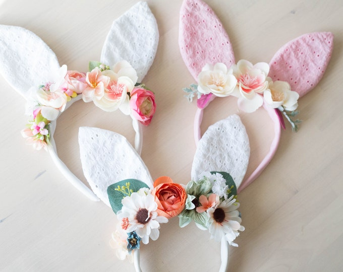 White Bunny Flower Headband / Flower Headband with ears / Easter Headband Girls Photo Prop Crown / RTS Toddler -Adult Bunny Flower Headpiece