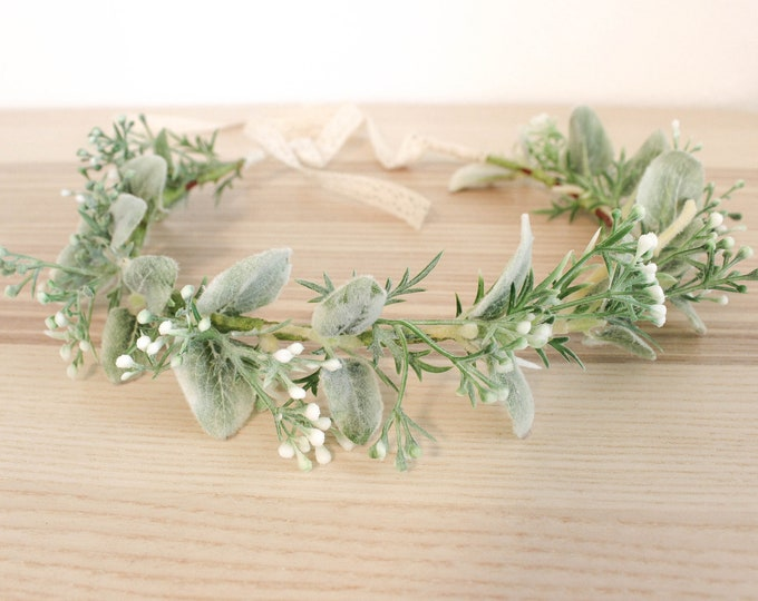 Soft lambs ear crown / Greenery Hair Wreath / Wedding Floral Headpiece/ Ivory Bridal Comb / Bohemian Halo Headpiece/ White berries Hair Vine