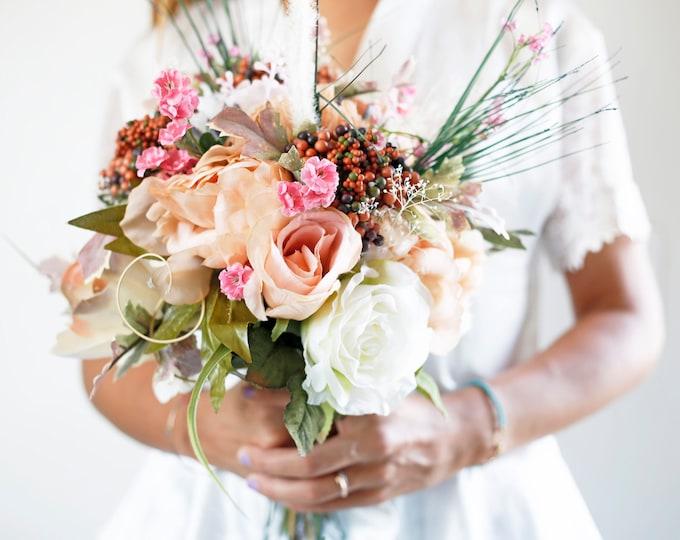 Pastel Succulent Bouquet / Spring Flower Bridal bouquet / Faux Bouquet / Blush Wedding Bride's Bouquet / Boho style / Beach Fall Wedding