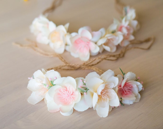 Tieback Flower Crown / Mommy and Me Flowers Headband / Toddler Flower Crown / Baby Photo prop / Newborn Flower Crown