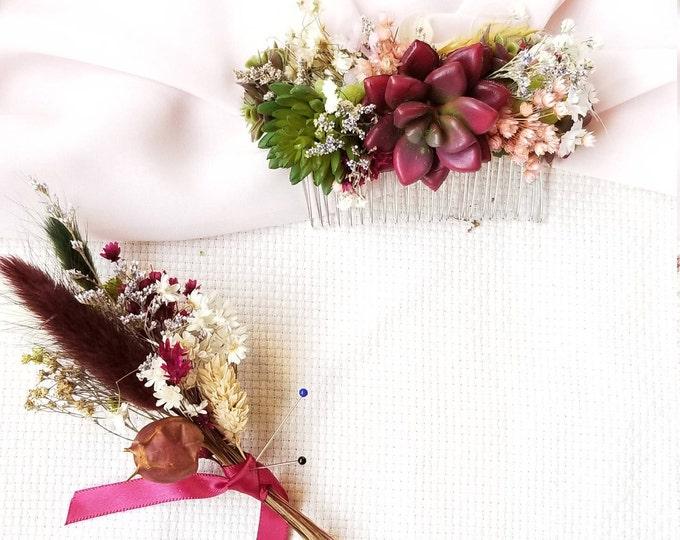 Succulent Set Doubled Succulent Hair Comb / Red Wine Wedding Flowers / Dried Flowers Boutonniere / Babies Breath Men's Apparel
