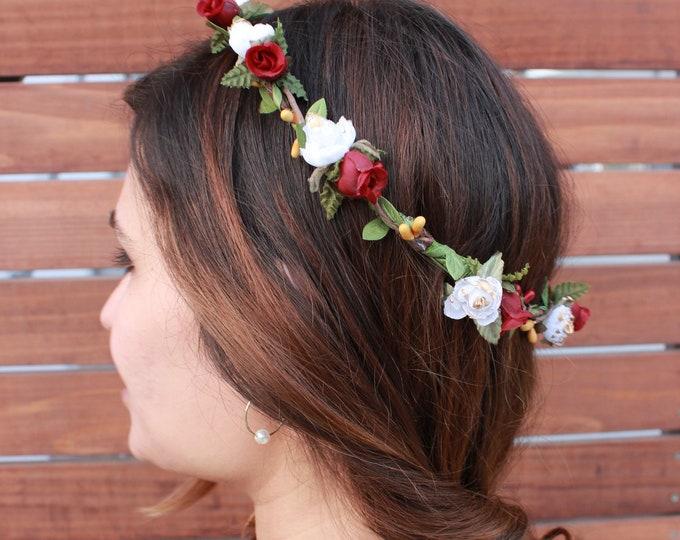 Ivory Floral Crown / Burgundy Red Ivory Flower Crown / Greenery Gold Hair Vine / Green leafs crown / Bohemian Tieback Floral Headband