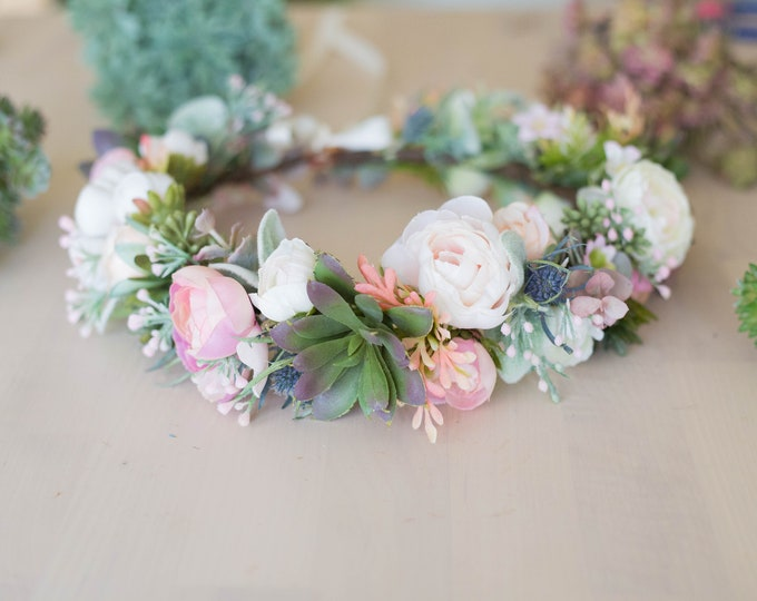 Succulent Flower Crown / Blush Wedding Bridal Floral Crown / Ivory and dusty Flower Head Crown / Bohemian Headpiece / Sage greenery leaves