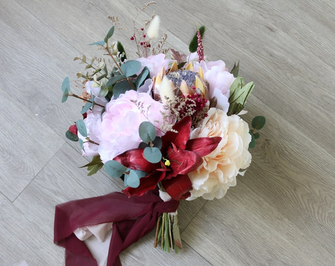 Burgundy Wedding Bouquet / Eucalyptus Sage Bridal bouquet / Faux Wedding bouquet / Pastel Brides Bridesmaid Bouquet