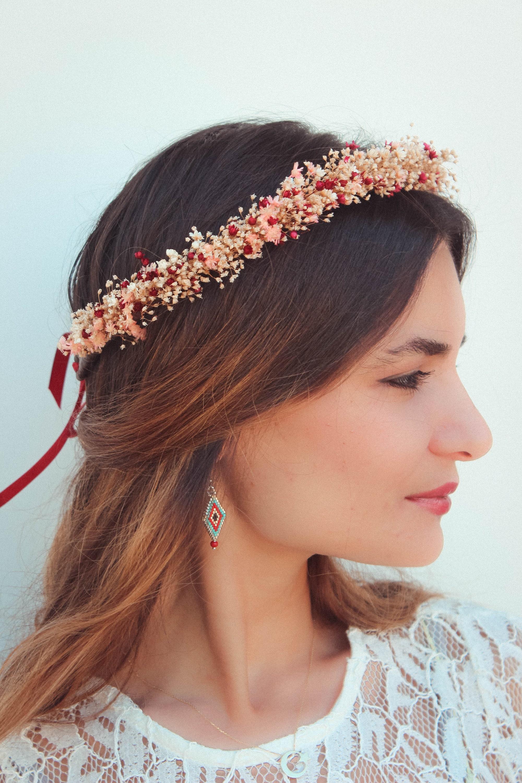 Burgundy dried flowers crown bohemian thin floral crown dried gallery photo gallery photo izmirmasajfo