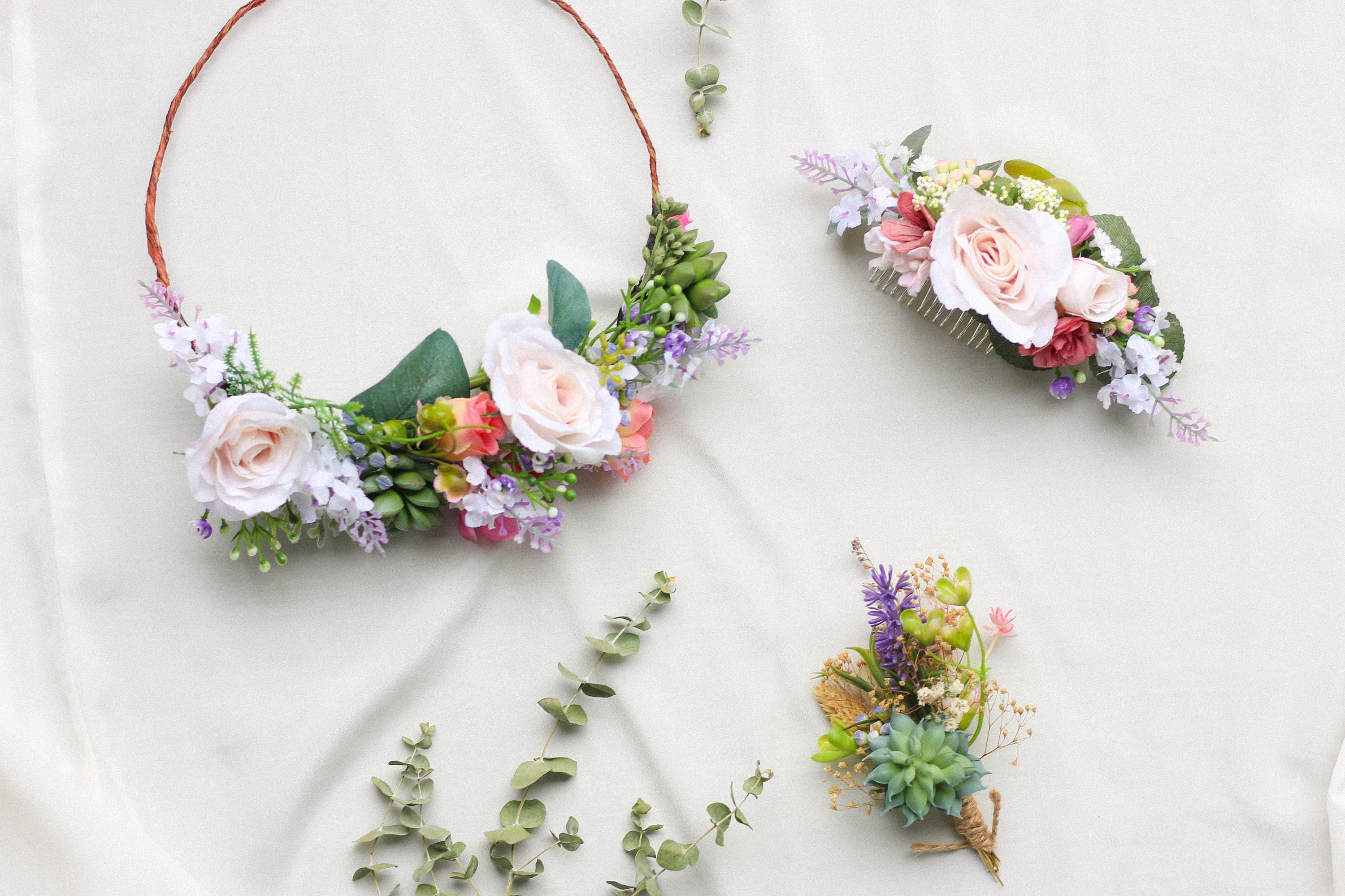 Succulent Flower Crown Green And Blush Headpiece Floral Crown