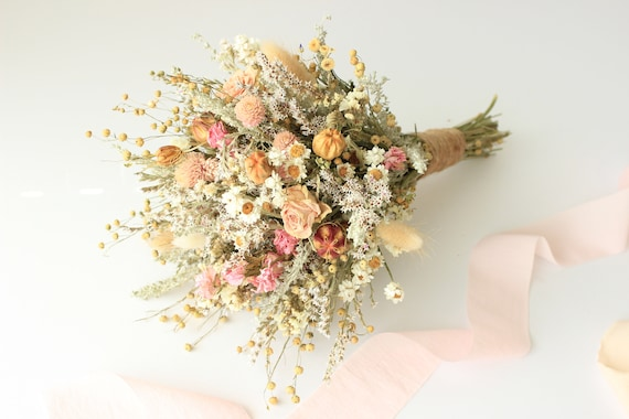 Pink Dream Peach Dried Flowers Bouquet Preserved Daisy Rose Etsy