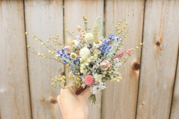 Mini Dried Flowers Bouquet Centerpieces Wedding Table Etsy