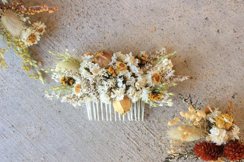 Fall Dry Flowers Hair comb  Fall dream dried flowers arrangement  Rustic Wedding  Autumn Orange Wildflowers Headpiece