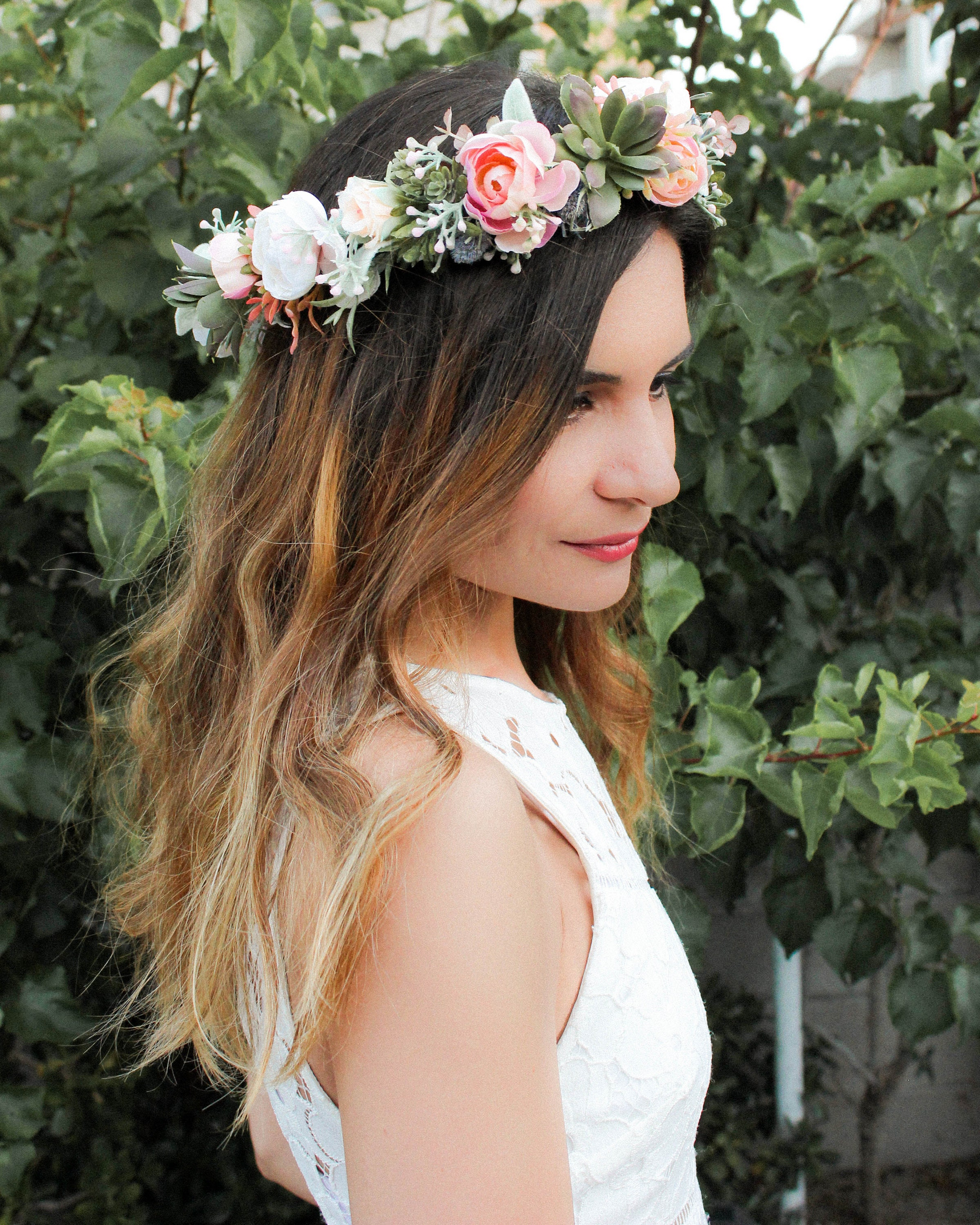 Succulent flower crown blush wedding bridal floral crown ivory succulent flower crown blush wedding bridal floral crown ivory and dusty flower head crown bohemian headpiece sage greenery leaves izmirmasajfo