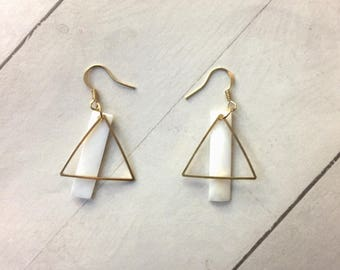 Triangle Shell Earrings, geometric earring, drop earring, dangle earring, triangle earring, Rectangle shell earring, gift for her