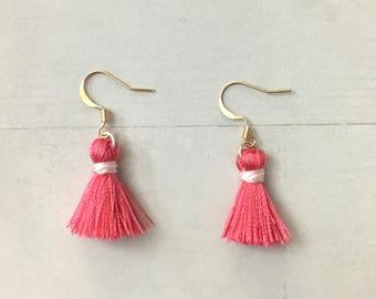 Silk Tassel Earrings, tassel earrings, dangle tassel earrings, cute earrings, small gift for her, boho fashion, drop earrings