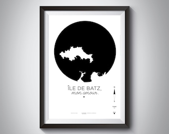 Poster Batz Island / île de Batz card / printed on A3/A4 210 grams / Batz Island, my love.