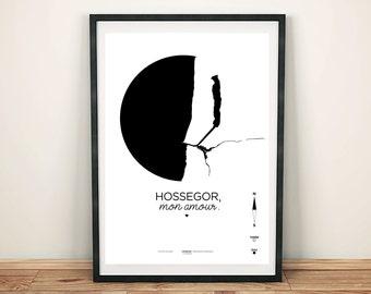 Hossegor poster / card of Hossegor / printed on A3/A4 210 grams / Hossegor, my love.