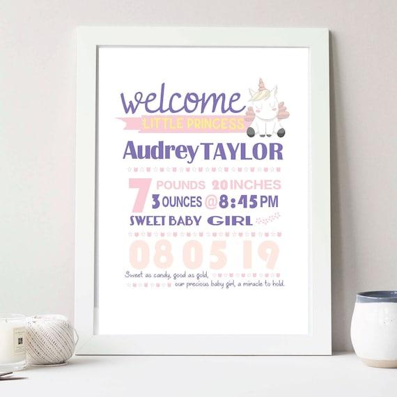 Rainbow Baby Gift Baby Girl Personalized Nursery Decor Print Printable Unicorn Birth Stats Wall Art DIGITAL FILE