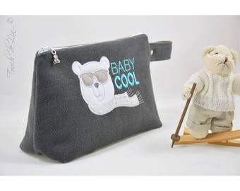 """Child toilet Kit fabric peacoat / embroidery """"baby cool."""