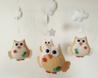 Owl baby mobile, Woodland mobile Baby mobile Nursery mobile Forest animals Crib Cot Hanging mobile Woodland baby shower gift Woodland