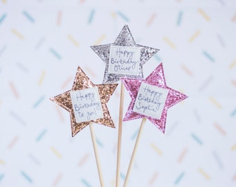 Sparkly Star Personalised Birthday Cake Topper
